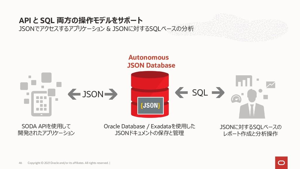 JSONでアクセスするアプリケーション & JSONに対するSQLベースの分析 API と S...