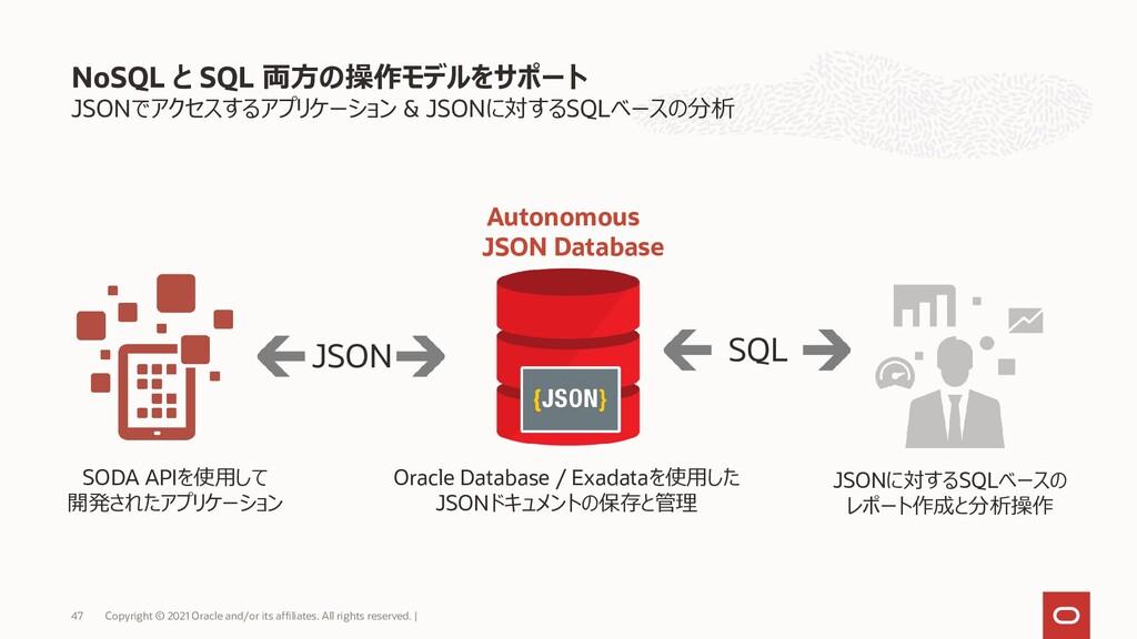 JSONでアクセスするアプリケーション & JSONに対するSQLベースの分析 NoSQL と...