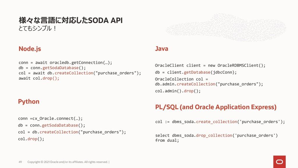 とてもシンプル! 様々な言語に対応したSODA API Copyright © 2021 Or...