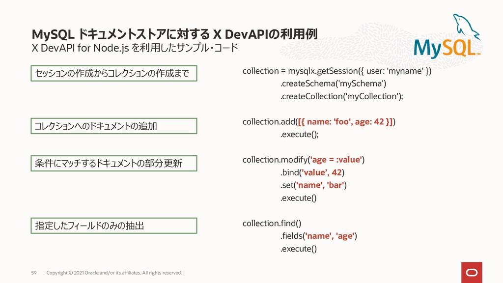X DevAPI for Node.js を利用したサンプル・コード collection =...