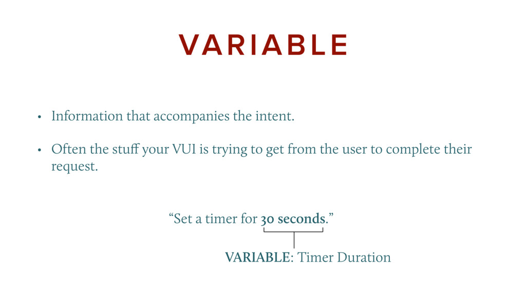 """""""Set a timer for 30 seconds."""" VARIABLE • In..."""