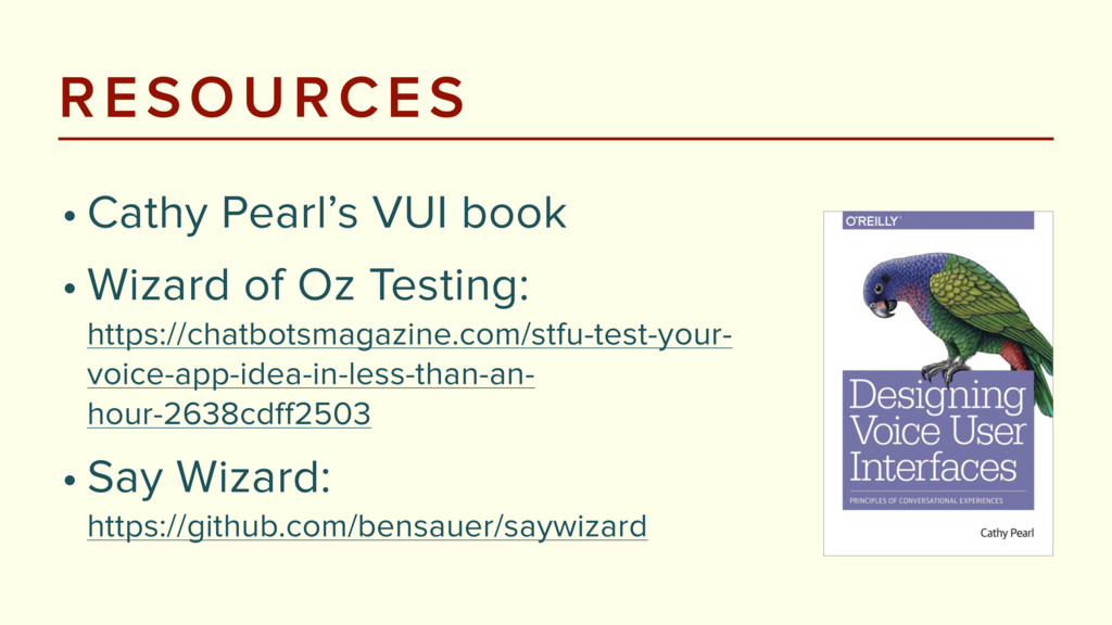 RESOURCES • Cathy Pearl's VUI book • Wizard of ...