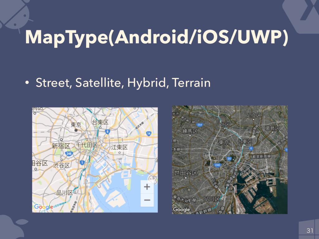 MapType(Android/iOS/UWP) • Street, Satellite, H...