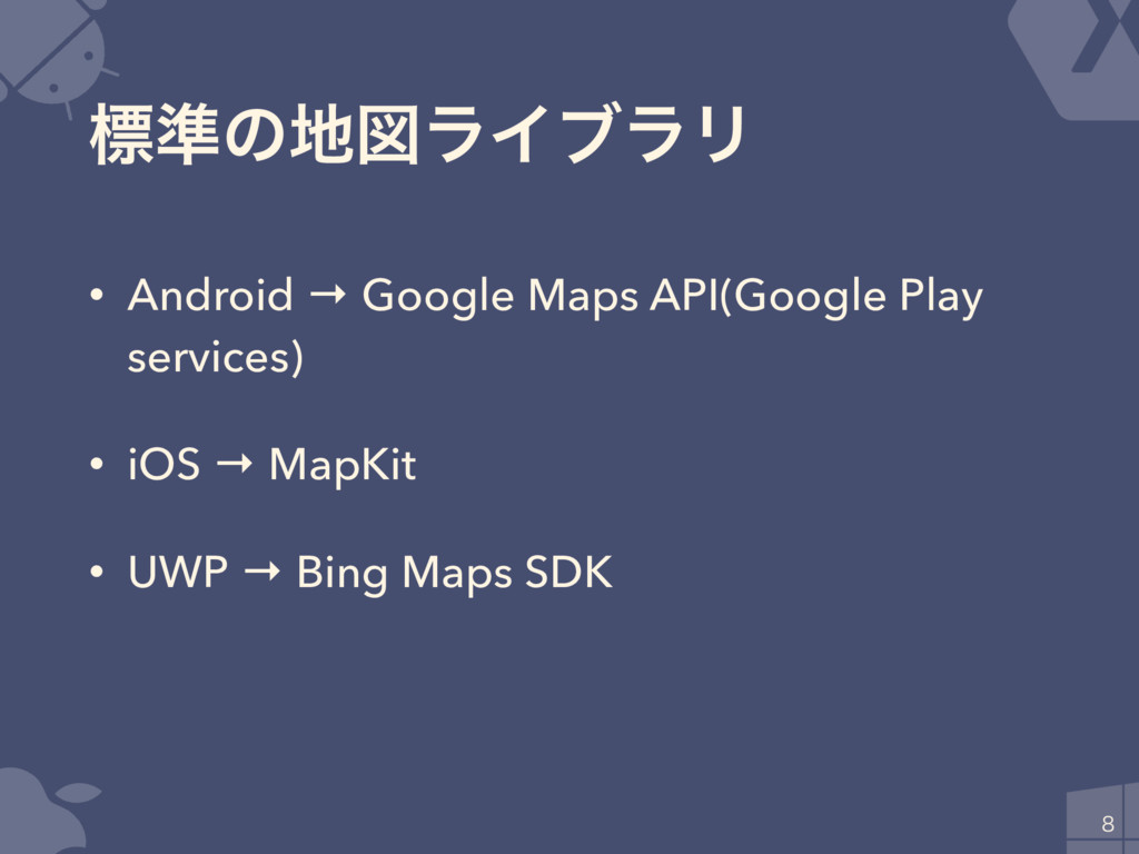 ඪ४ͷਤϥΠϒϥϦ • Android → Google Maps API(Google P...