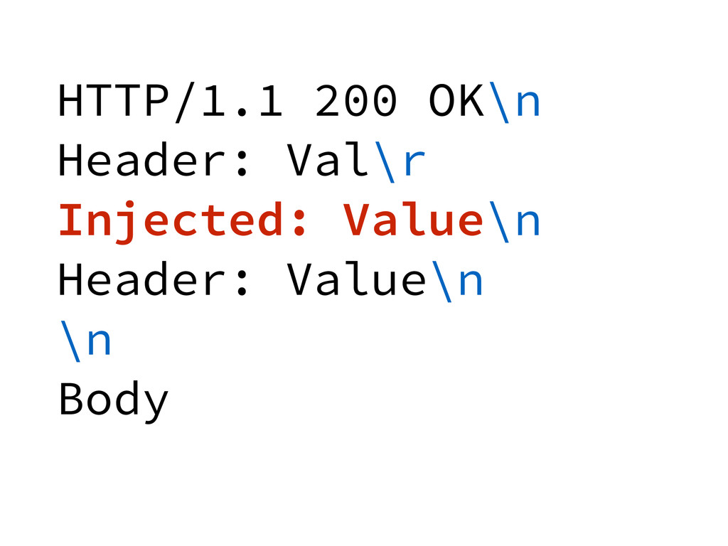 HTTP/1.1 200 OK\n Header: Val\r Injected: Value...