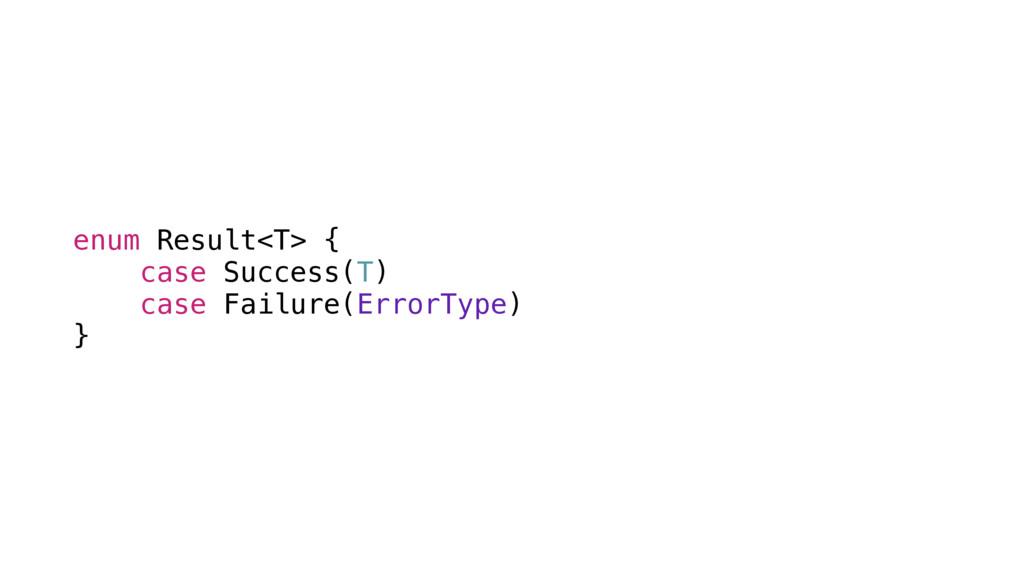 enum Result<T> { case Success(T) case Failure(E...