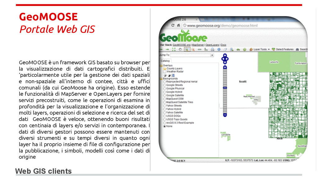 GeoMOOSE Portale Web GIS Web GIS clients GeoMOO...