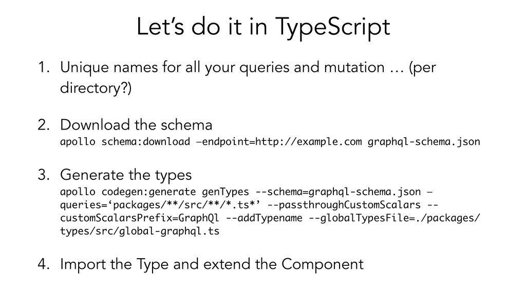 Let's do it in TypeScript 1. Unique names for a...