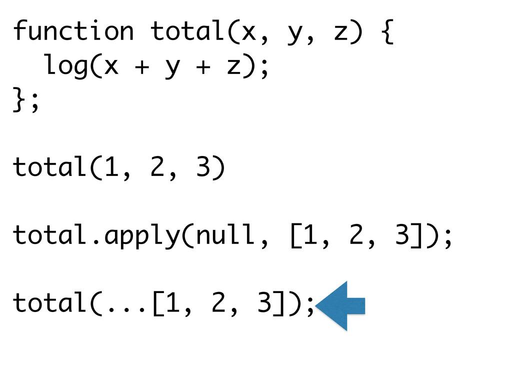 function total(x, y, z) { log(x + y + z); }; ! ...
