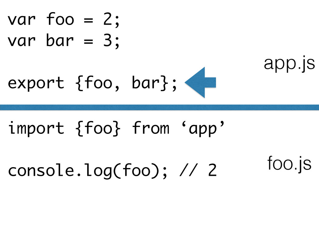 var foo = 2; var bar = 3; ! export {foo, bar}; ...