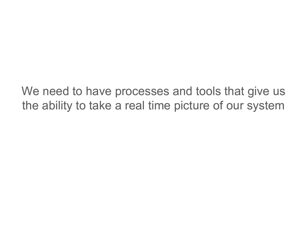 We need to have processes and tools that give u...