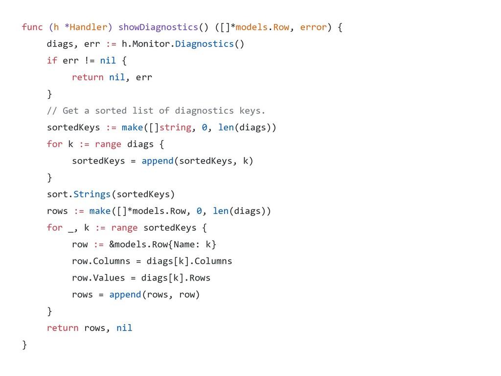 func (h *Handler) showDiagnostics() ([]*models....