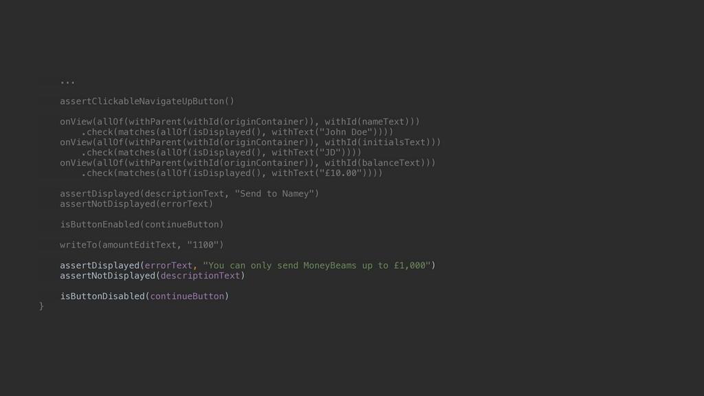 ... assertClickableNavigateUpButton() onView(al...