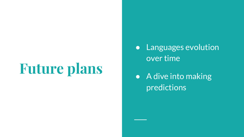Future plans ● Languages evolution over time ● ...