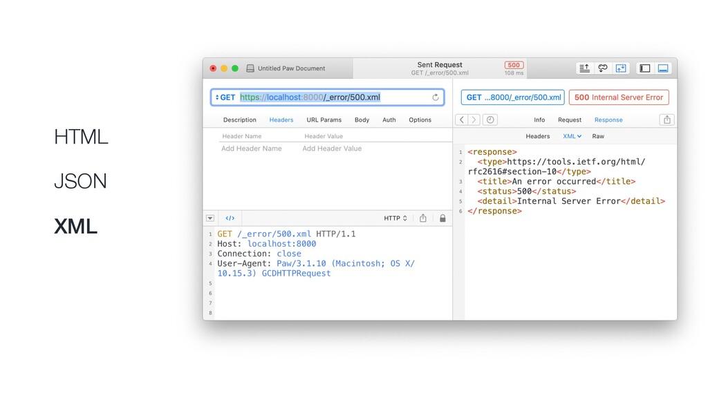 HTML JSON XML