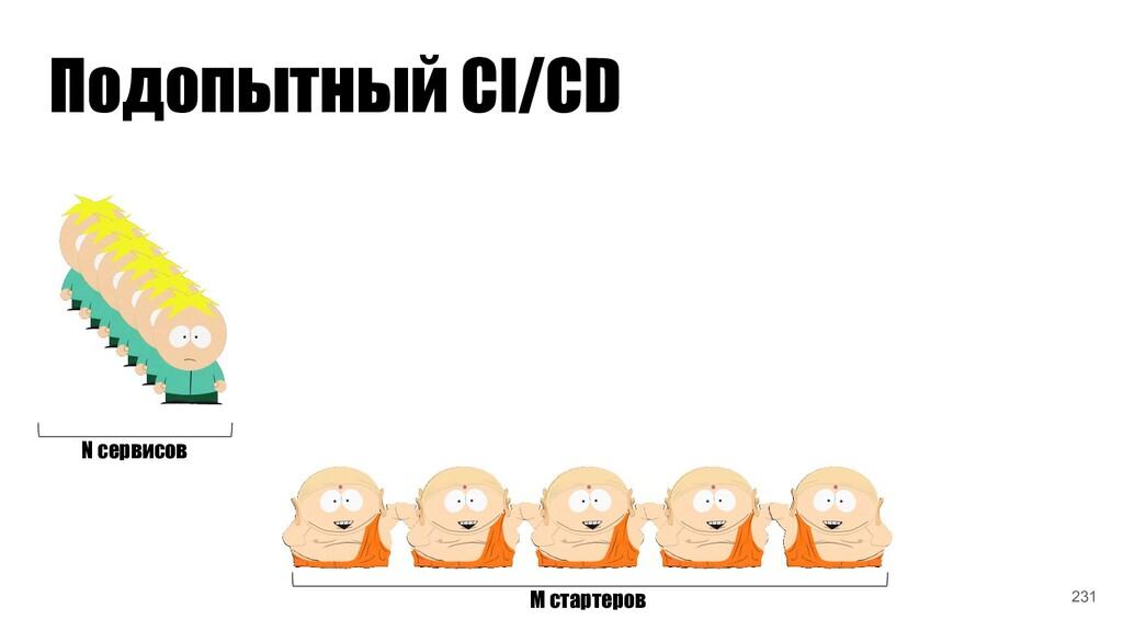 Подопытный CI/CD N сервисов M стартеров 231
