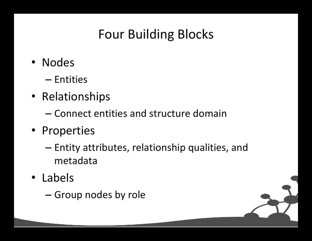 Four Building Blocks • Nodes – Entities • Relat...