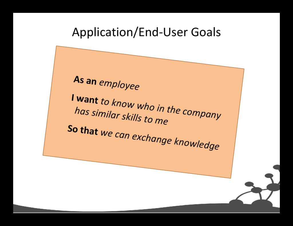 Application/End-User Goals As an employee I wan...