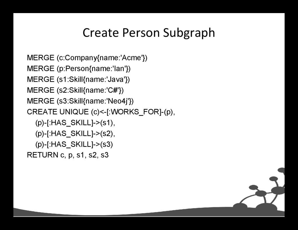 Create Person Subgraph MERGE (c:Company{name:'A...