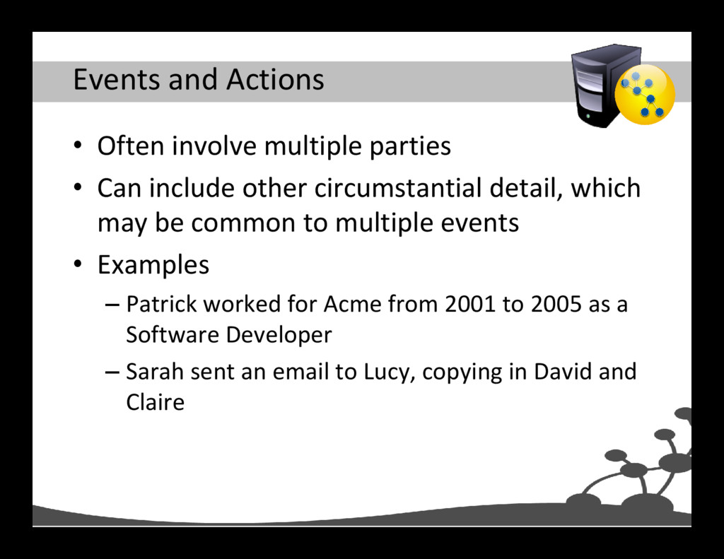 Events and Actions • Often involve multiple par...
