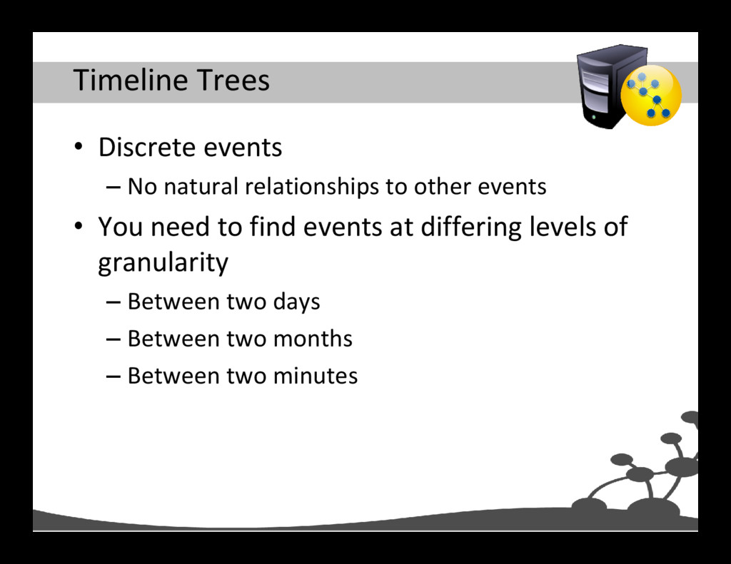 Timeline Trees • Discrete events – No natural r...