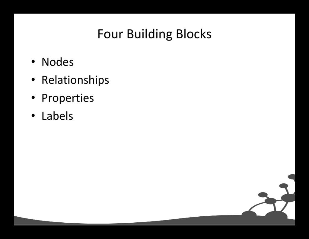Four Building Blocks • Nodes • Relationships • ...