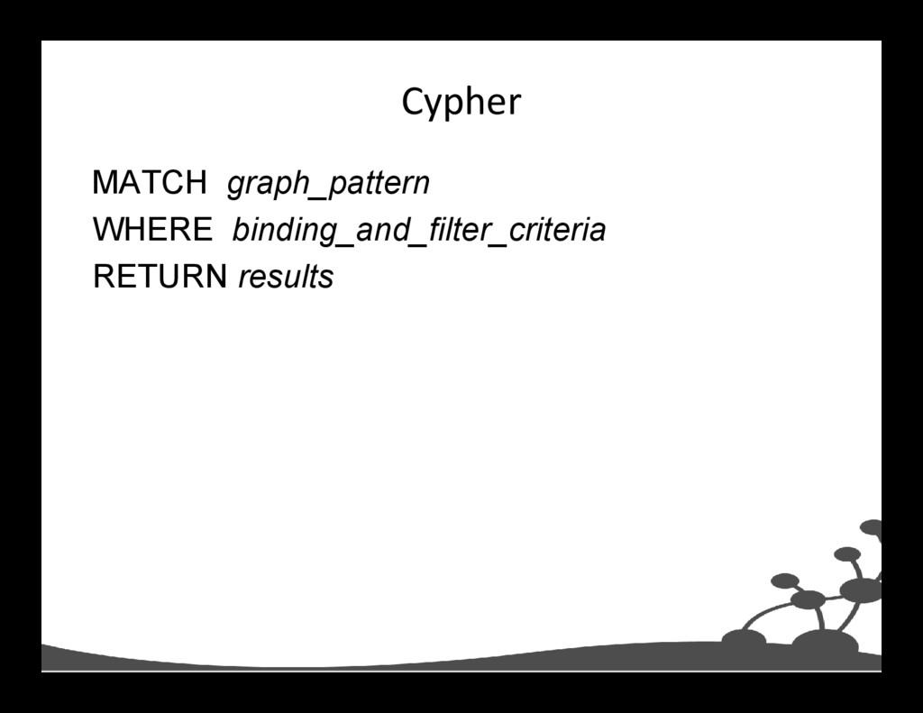 Cypher MATCH graph_pattern WHERE binding_and_fi...