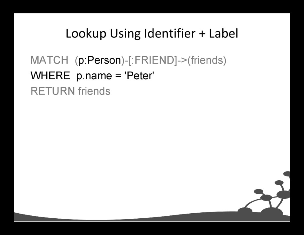 Lookup Using Identifier + Label MATCH (p:Person...
