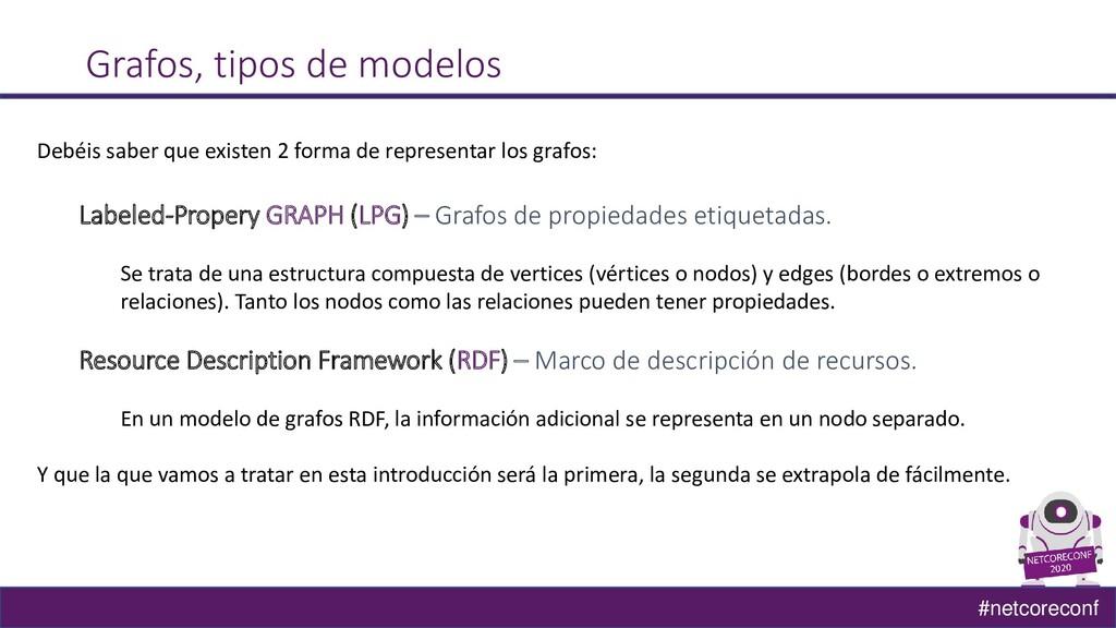 #netcoreconf Grafos, tipos de modelos Debéis sa...