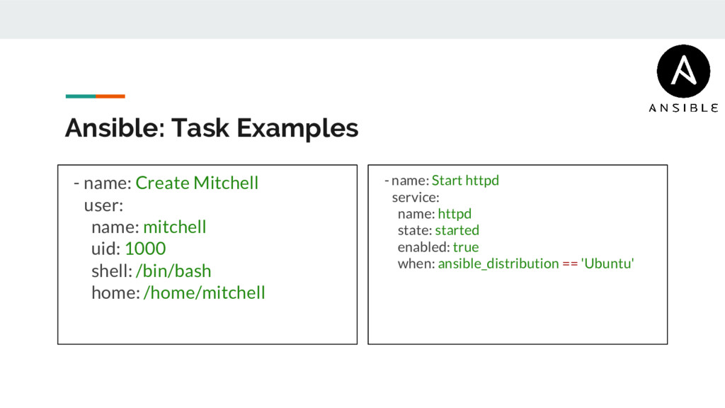 Ansible: Task Examples - name: Create Mitchell ...