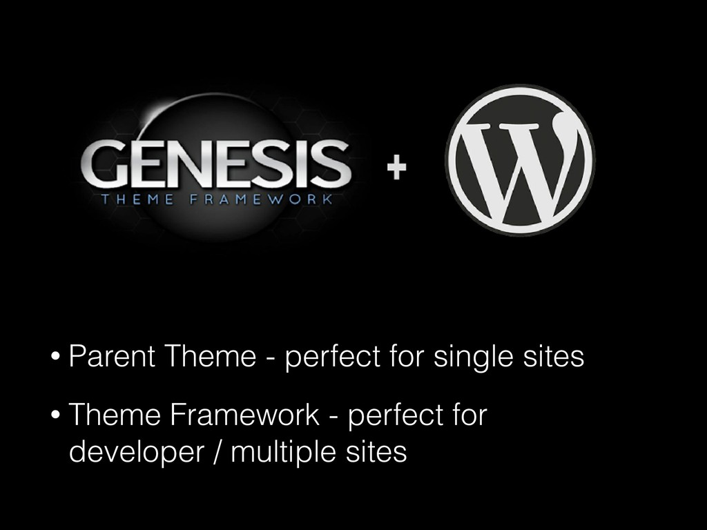• Parent Theme - perfect for single sites • The...