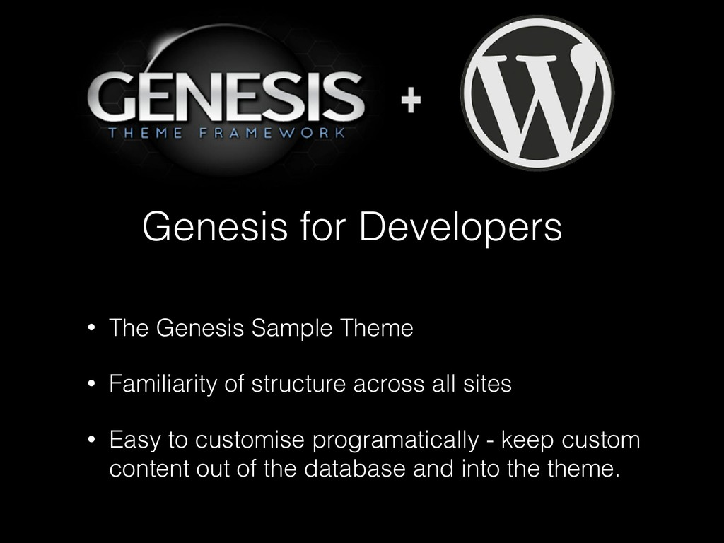 Genesis for Developers • The Genesis Sample The...