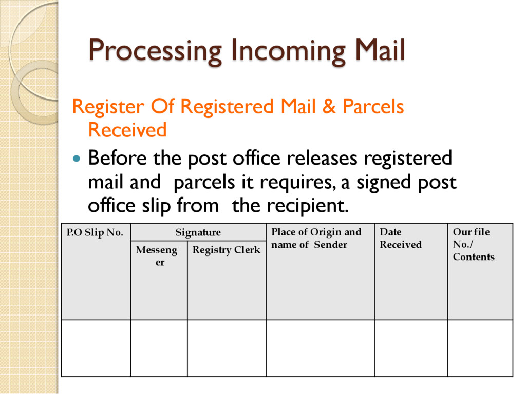 Processing Incoming Mail P.O Slip No. Signature...