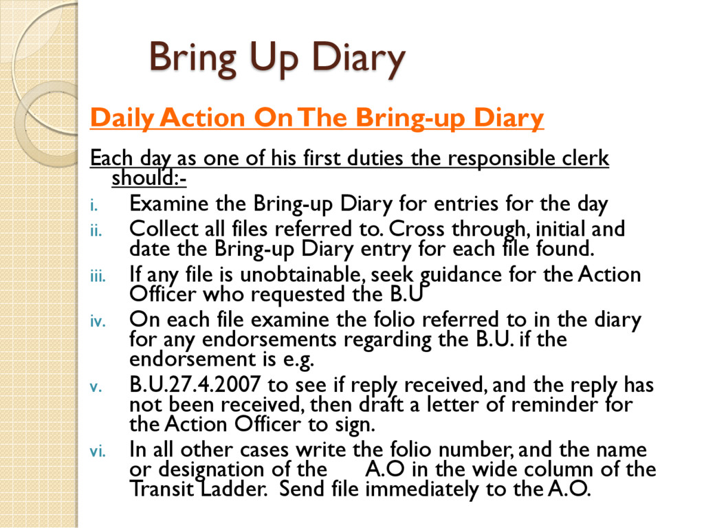 Bring Up Diary Daily Action On The Bring-up Dia...