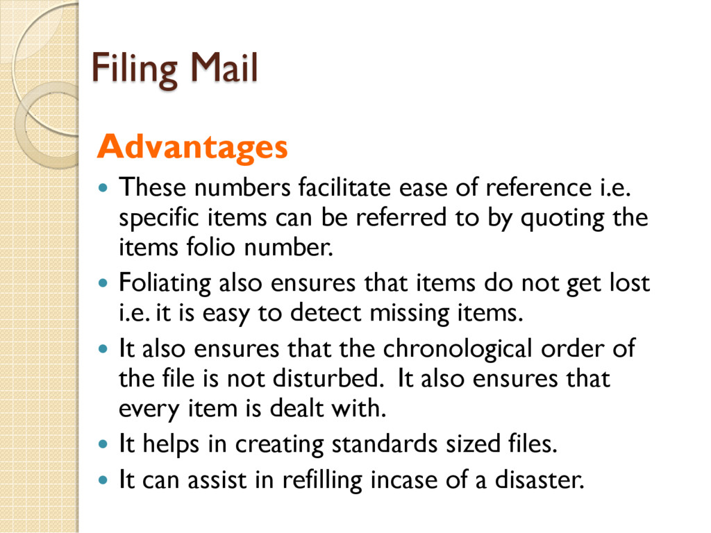 Filing Mail Advantages  These numbers facilita...