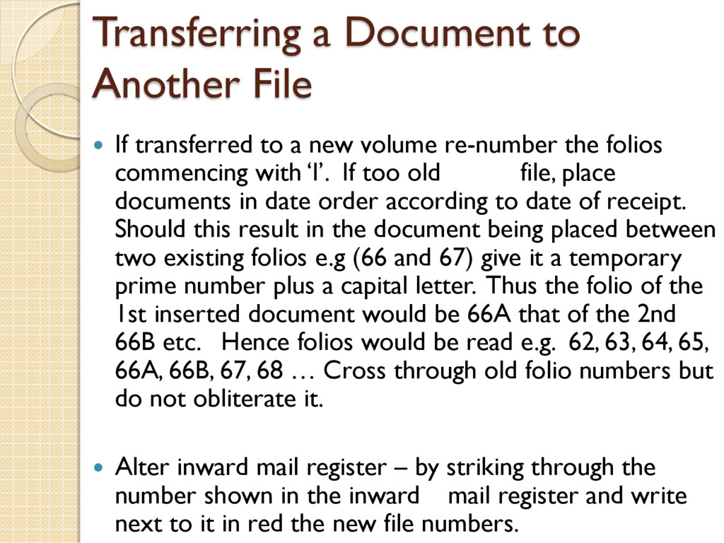 Transferring a Document to Another File  If tr...