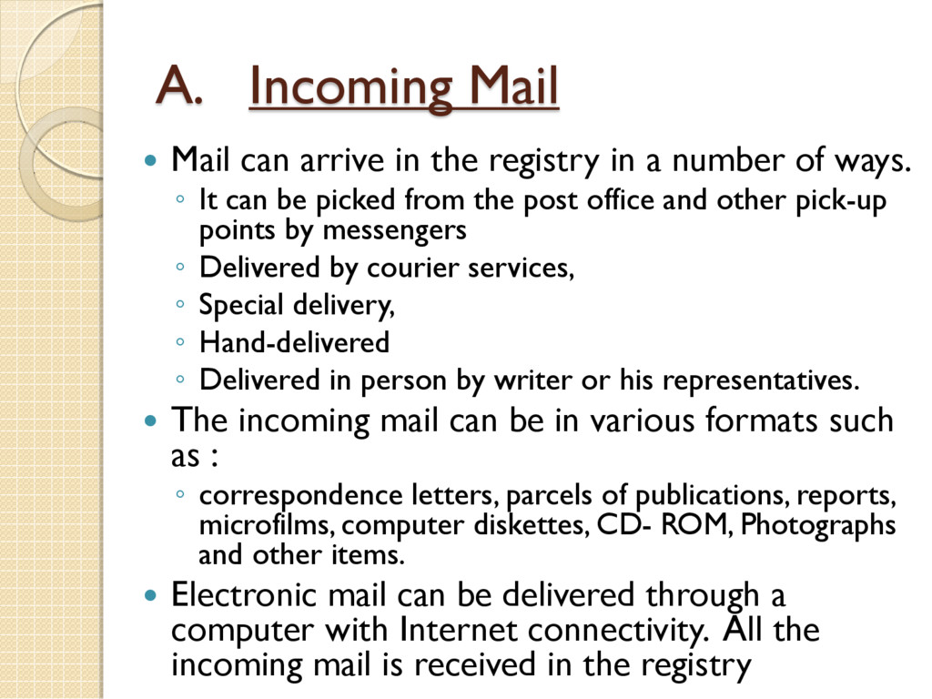 A. Incoming Mail  Mail can arrive in the regis...