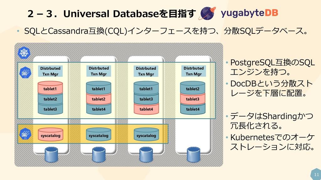 11 2-3.Universal Databaseを目指す • SQLとCassandra互換...