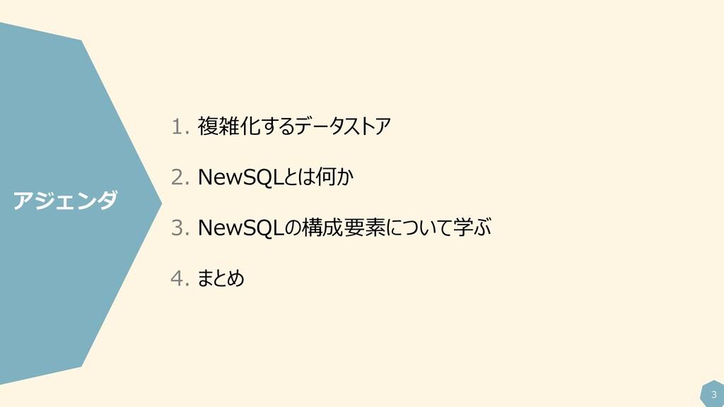 3 1. 複雑化するデータストア 2. NewSQLとは何か 3. NewSQLの構成要素につ...
