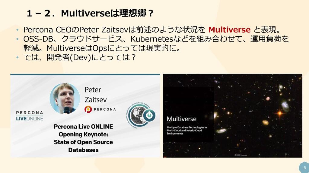 6 1-2.Multiverseは理想郷? • Percona CEOのPeter Zaits...