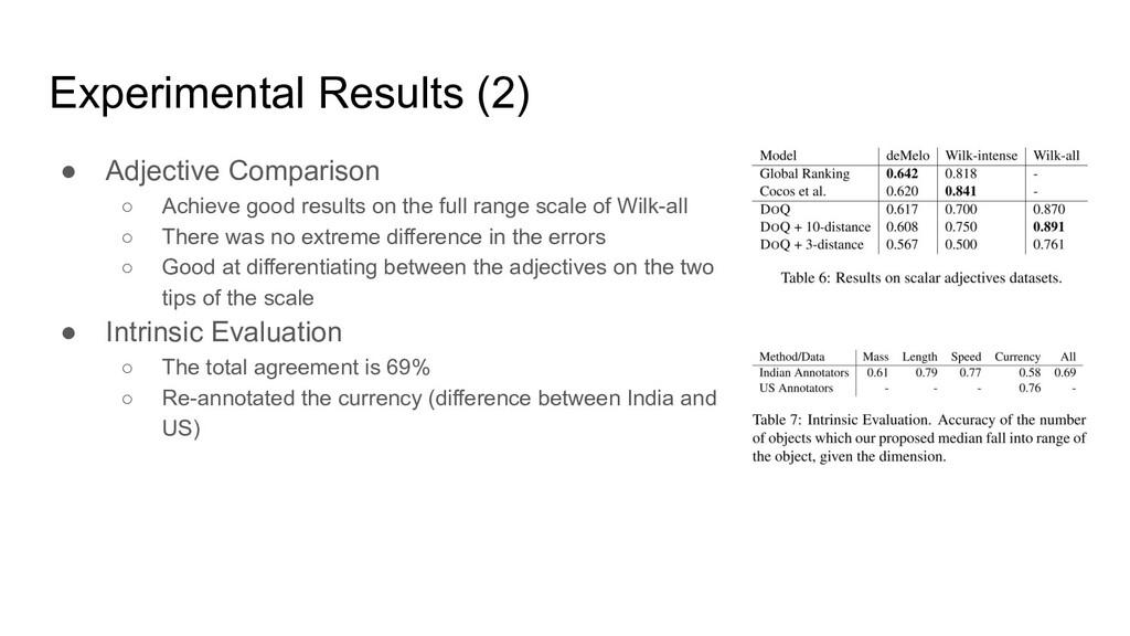 Experimental Results (2) ● Adjective Comparison...