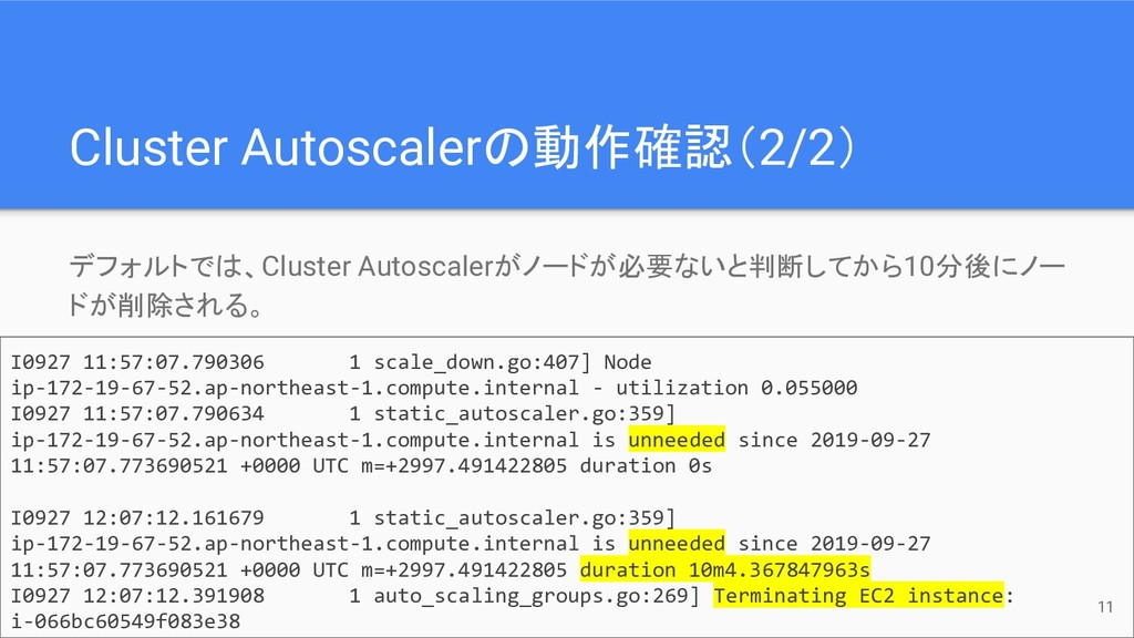 Cluster Autoscalerの動作確認(2/2) デフォルトでは、Cluster Au...