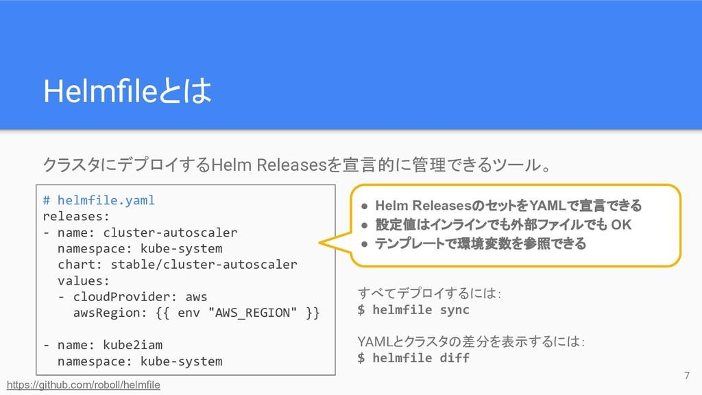 クラスタにデプロイするHelm Releasesを宣言的に管理できるツール。 すべてデプロイす...