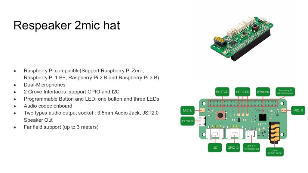 Respeaker 2mic hat ● Raspberry Pi compatible(Su...