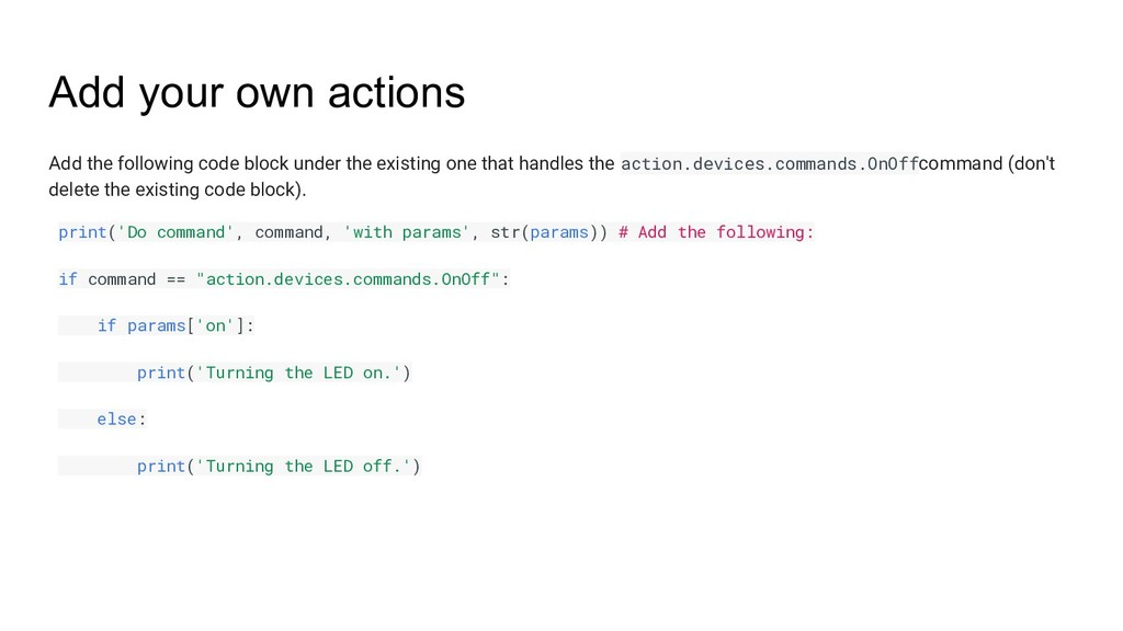 Add your own actions Add the following code blo...