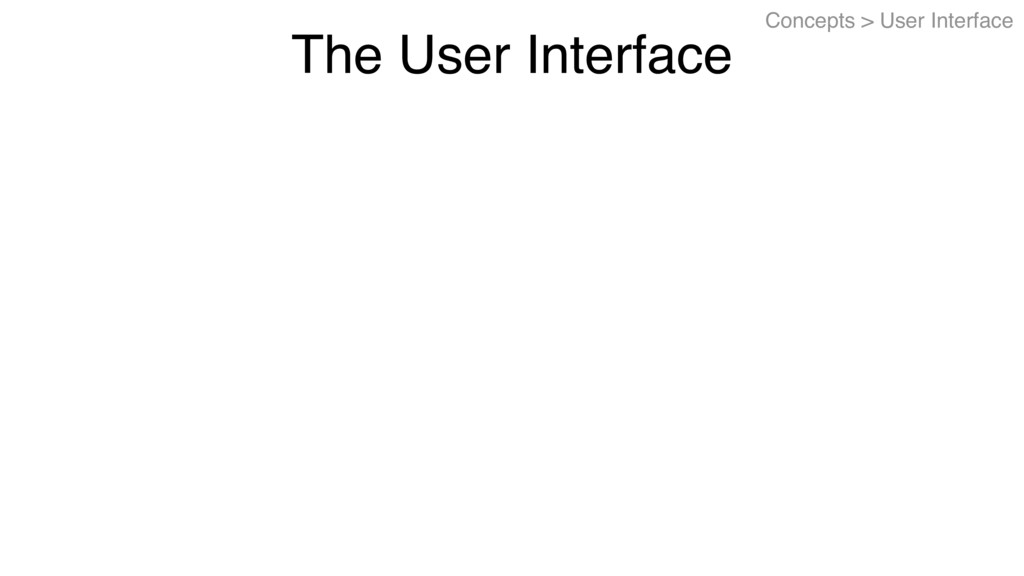 The User Interface Concepts > User Interface