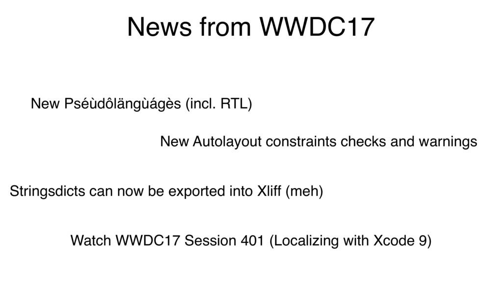 News from WWDC17 New Pséùdôlängùágès (incl. RTL...