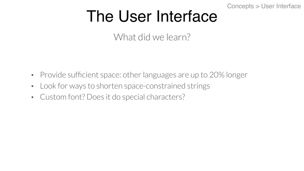 The User Interface Concepts > User Interface • ...