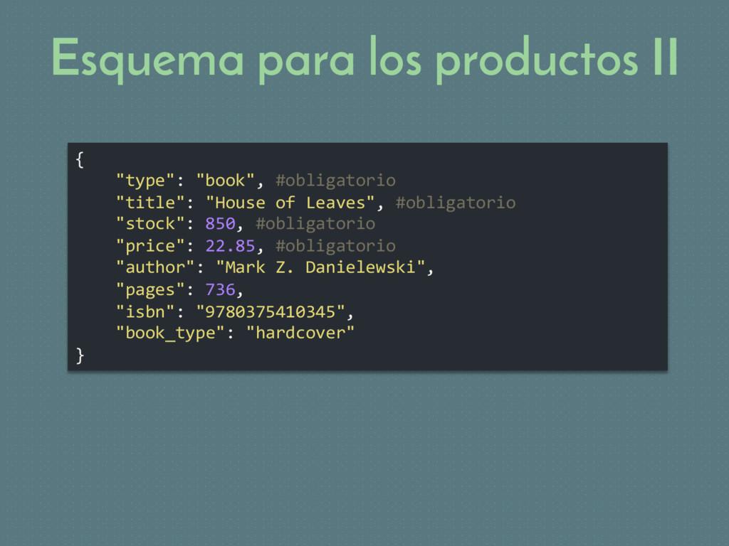 """Esquema para los productos II { """"type"""": """"book"""",..."""