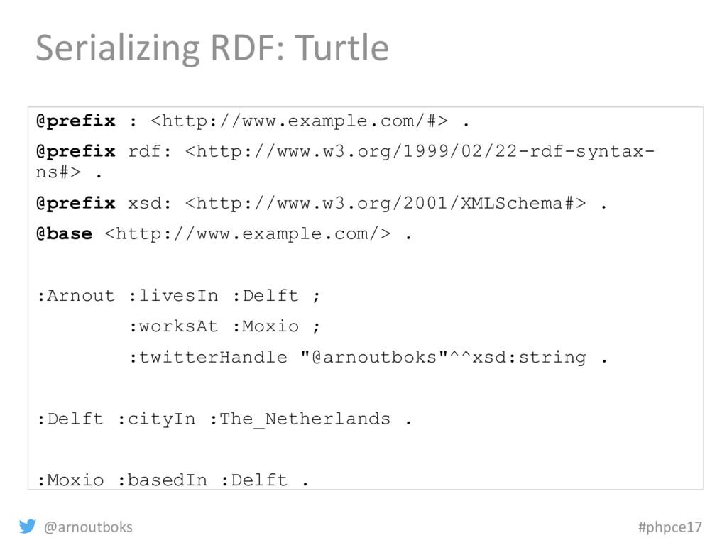 @arnoutboks #phpce17 Serializing RDF: Turtle @p...
